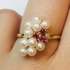 14K Gold Ruby Diamonds Pearl Cluster Ring